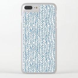 Sky blue and White Herringbone Pattern Clear iPhone Case