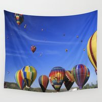 hot air balloons Wall Tapestries featuring Hot Air Balloons California by John Lyman Photos