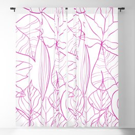 Abstract Modern Pink Hand Painted Leaves Pattern Blackout Curtain
