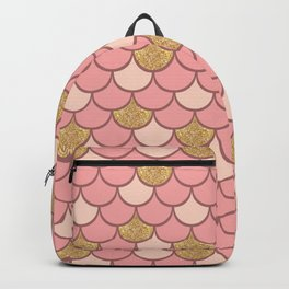 Rose gold mermaid scale with  glitter effect Backpack