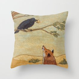 Fox and Crow, Aesop's Fable Illustration in the style of Arthur Rackham and Howard Pyle Throw Pillow