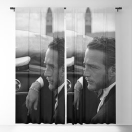 1963 Paul Newman at Venice Film Festival black and white photograph Blackout Curtain