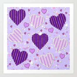 Purple Patchwork Hearts Art Print
