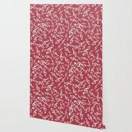 Treble Clef Pattern - Red BG Wallpaper