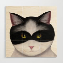 They call me the Masked Cat Wood Wall Art