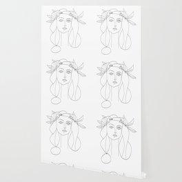 Picasso Line Art - Woman's Head Wallpaper