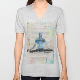 Yoga Book. Lesson 1 Concentration - painting - art print  Unisex V-Neck