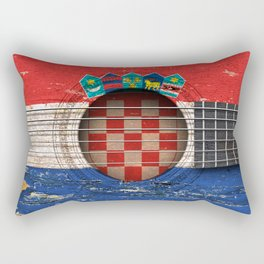 Old Vintage Acoustic Guitar with Croatian Flag Rectangular Pillow
