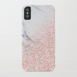 She Sparkles Rose Gold Pink Marble Luxe Geometric iPhone Case