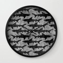 Gray and Black Shark Pattern Wall Clock