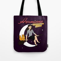 hermione Tote Bags featuring Hermione the Teenage Witch by HuckBlade