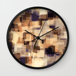 orange brown and blue square abstract background Wall Clock