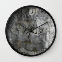 alphabet Wall Clocks featuring Alphabet by cafelab