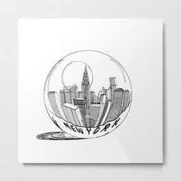 New York in a glass ball . Art . Metal Print