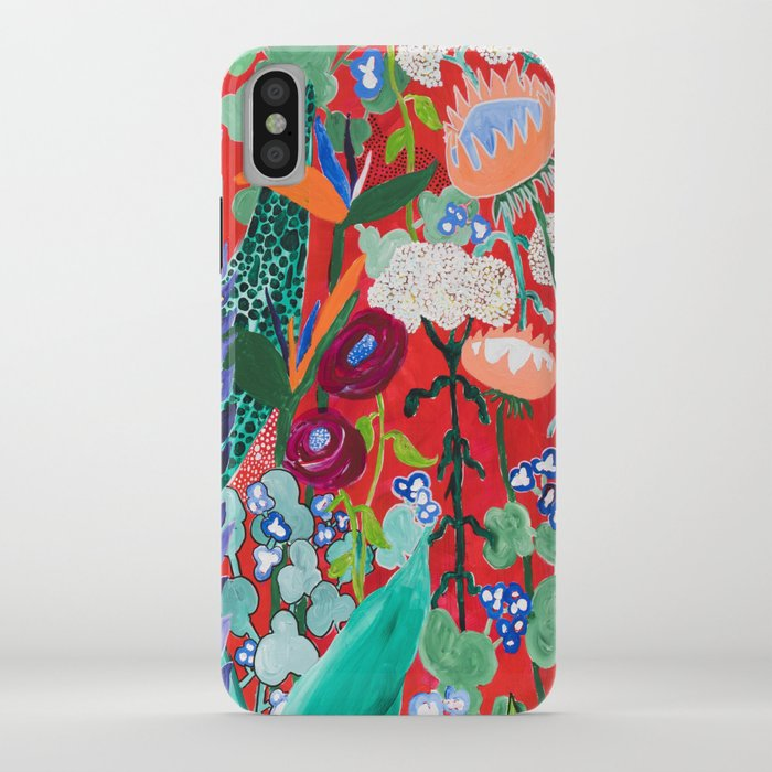 red floral jungle garden botanical featuring proteas, reeds, eucalyptus, ferns and birds of paradise iphone case