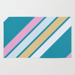 Pink White and Blue Stripes Rug