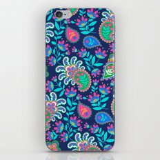 Pretty Bohemian Paisley Navy Green Turquoise and Pink iPhone & iPod Skin