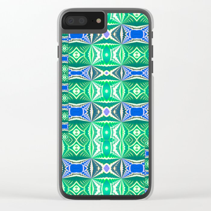 Green Mosaic Clear iPhone Case