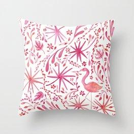 Flamingos at the Beach Throw Pillow