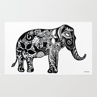 ganesh Area & Throw Rugs featuring Ganesh by doctusdesign