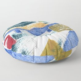 Abstract Building Blue Floor Pillow