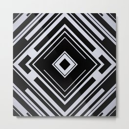 Black and White Tribal Pattern Diamond Shapes Geometric Geometry Contrast I Metal Print
