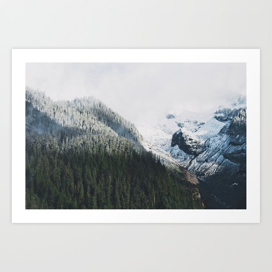 Mount Rainier Winter Valley Art Print
