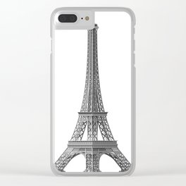Illustration of the Eiffel Tower on a white background Clear iPhone Case