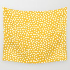DOT PATTERN - yellow and white Wall Tapestry