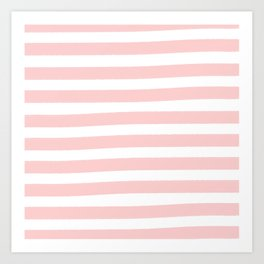 Brushy Stripes - Pink Art Print