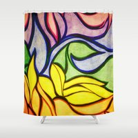 waves Shower Curtains featuring Waves by Aaron Carberry