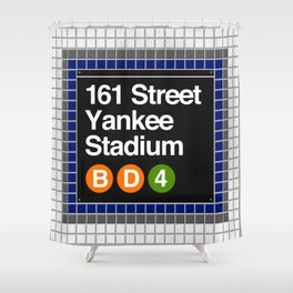 subway yankee stadium sign Shower Curtain