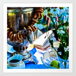 Summer Morning Tea In The Garden Art Print