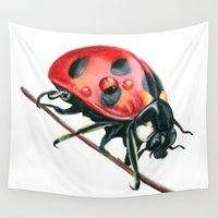ladybug Wall Tapestries featuring Ladybug by Sam Luotonen