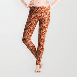 Art Deco Fan Pattern, Mandarin Orange Leggings