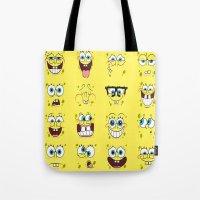 spongebob Tote Bags featuring Spongebob  by Lyre Aloise
