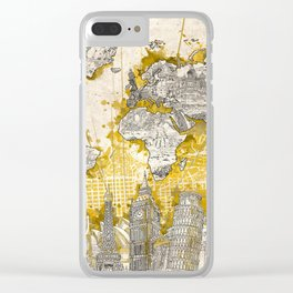 world map city skyline 1 Clear iPhone Case