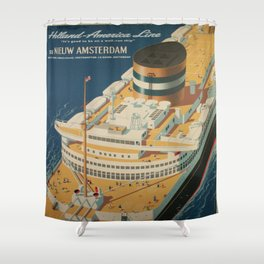 Vintage poster - Cruise ship Shower Curtain