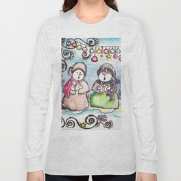 Holiday Snowman Singing Trio Long Sleeve T-shirt