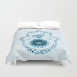 Butterfly Lotus Blue Hamsa Hand Duvet Cover