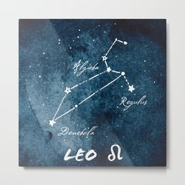 Leo Zodiac Constellation 2 Metal Print