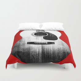 Guitar - Body, Red Background Duvet Cover