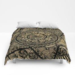 Star Zentangle in wood Comforters