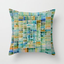 Watercolor abstract rectangles - orange and blue Throw Pillow