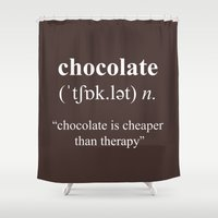 chocolate Shower Curtains featuring Chocolate by cafelab