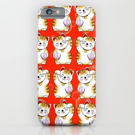 Lucky cat, calico maneki red pattern iPhone Case