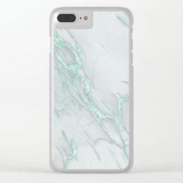 Marble Love Mint Metallic Clear iPhone Case