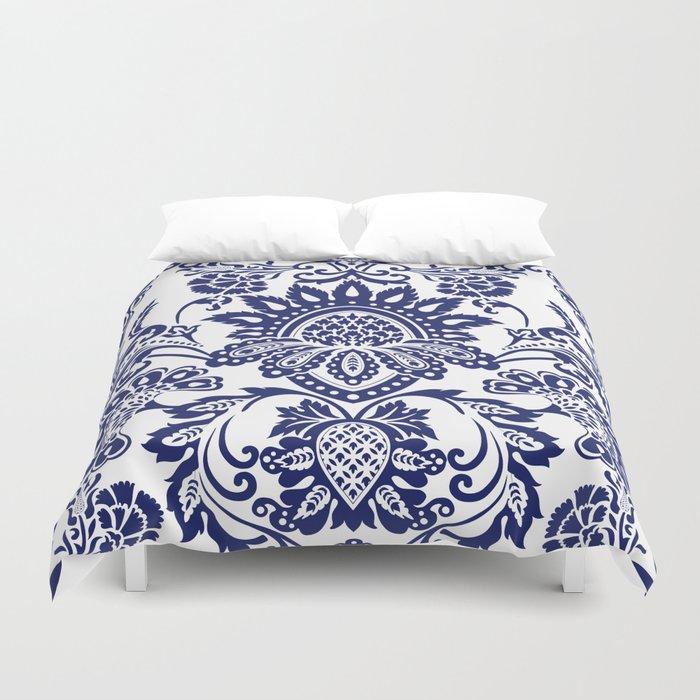 damask blue and white Bettbezug
