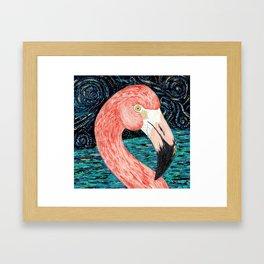Starry Flamingo Framed Art Print