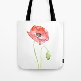 Red Poppy Watercolor Flower Floral Abstract Tote Bag
